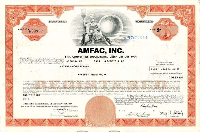 AMFAC, Inc. - $50,000 - SOLD
