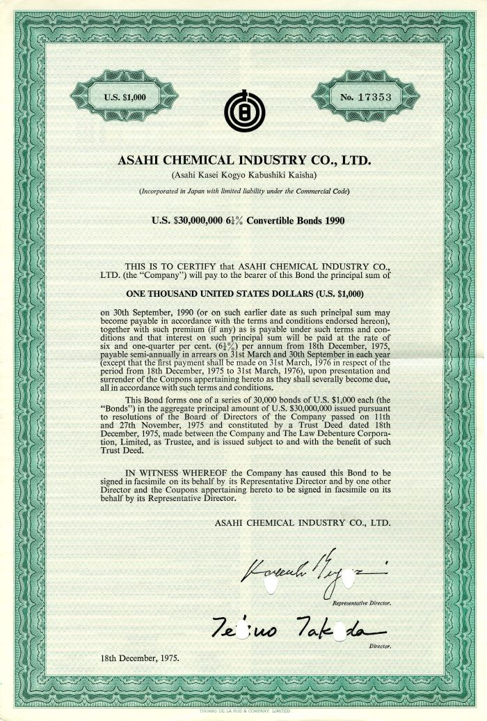 Asahi Chemical Industry Co., Ltd. - $30,000,000