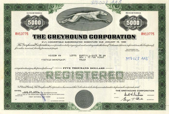 Greyhound Corporation - $5,000