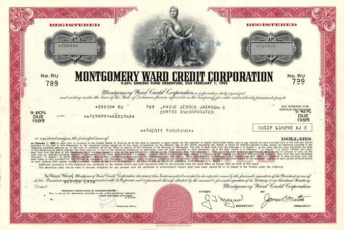 Montgomery Ward Credit Corporation - $20,000