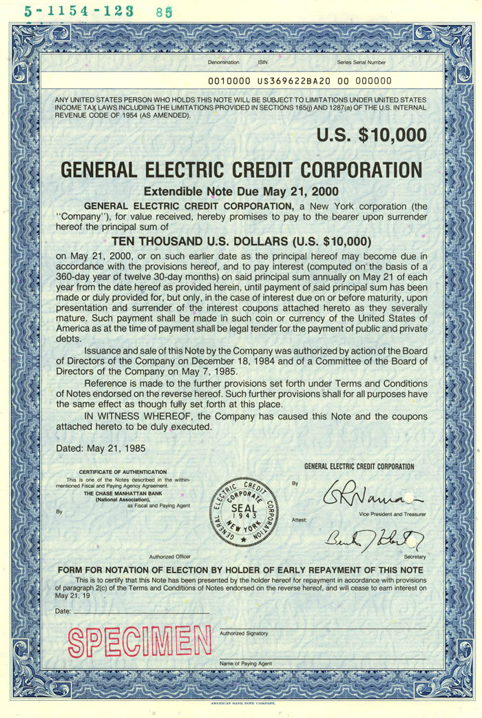 General Electric Credit Corporation  - Bond