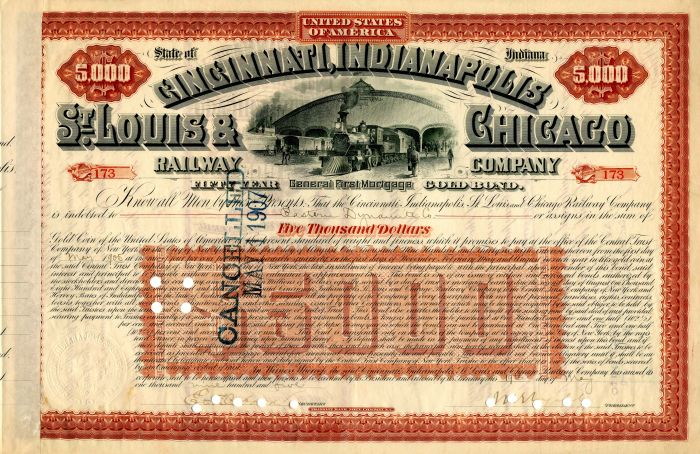 Cincinnati, Indianapolis, St. Louis & Chicago Railway Company - $5,000