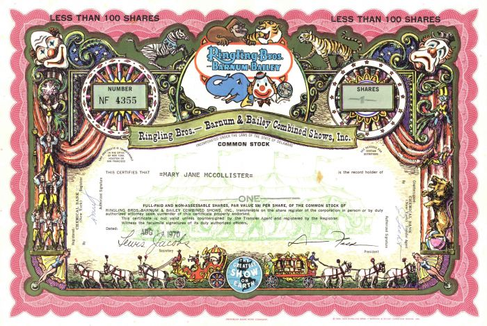 Ringling Bros. Barnum & Bailey Combined Shows, Inc. - Stock Certificate