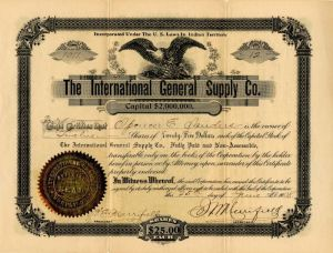 International General Supply Co. - Stock Certificate
