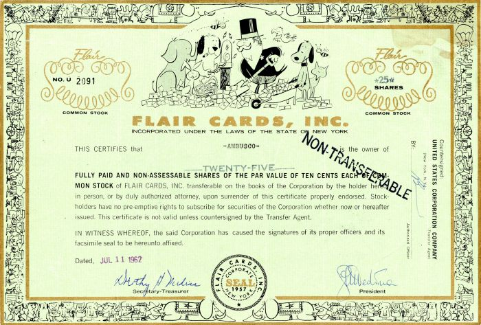 Flair Cards, Inc - Stock Certificate