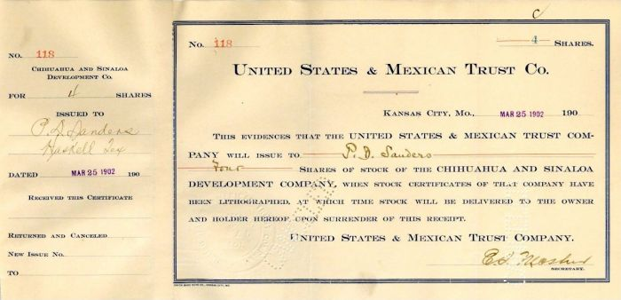 United States and Mexican Trust Co. - Stock Certificate