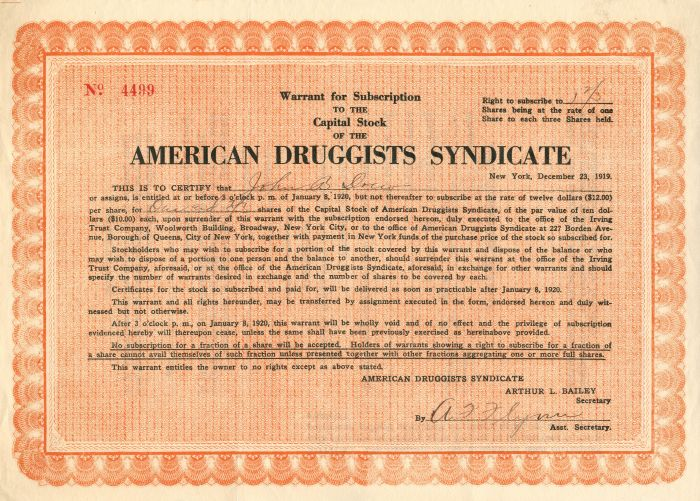 American Druggists Syndicate - SOLD
