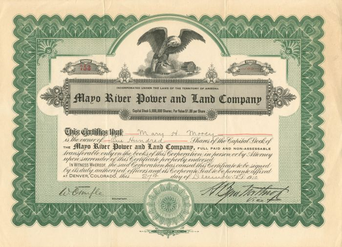 Mayo River Power and Land Company - Stock Certificate