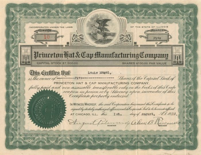 certificate manufacturing princeton cap hat illinois state
