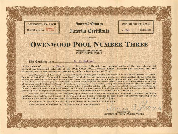 Owenwood Pool Number Three - Stock Certificate