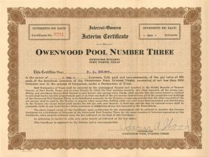 Owenwood Pool Number Three - Stock Certificate