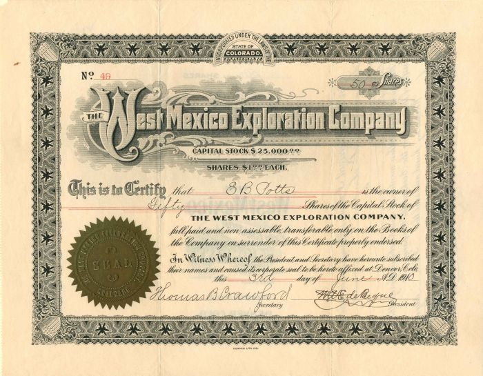 West Mexico Exploration Company - Stock Certificate