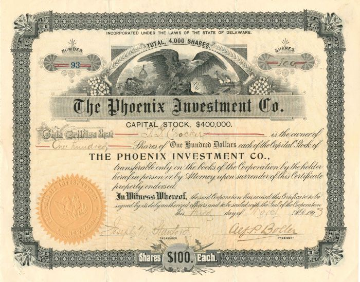 Phoenix Investment Co. - Stock Certificate