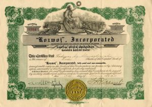 Reese River Flouring Mill Company Stock Certificate 1880/'s