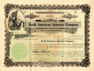 North American Asbestos Company - Stock Certificate