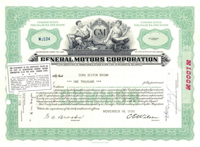 General Motors Stock Certificate - Extremely Rare Type!