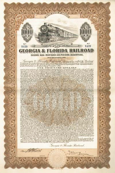 Georgia & Florida Railroad - $1,000 Bond