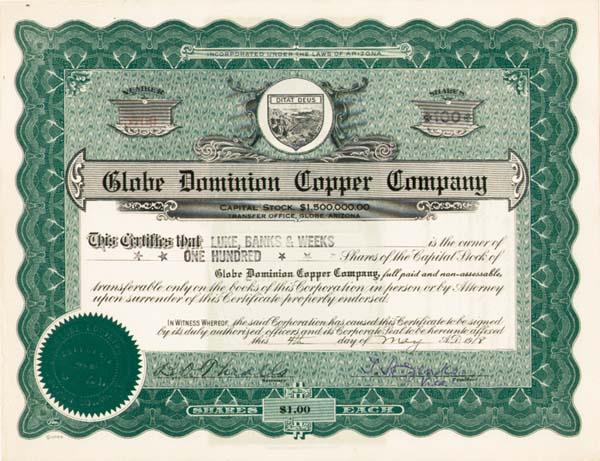 Globe Dominion Copper Company - Stock Certificate