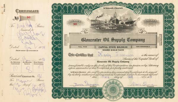 Gloucester Oil Supply Co - Stock Certificate