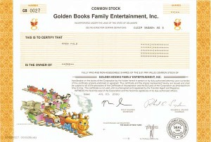 Golden Books Family Entertainment Inc. - Stock Certificate
