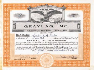 Basketball Great Bob Cousy - Graylag, Inc. - Stock Certificate - SOLD
