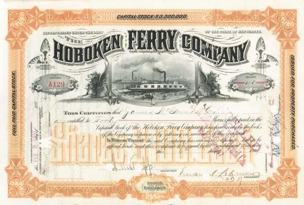 Hoboken Ferry Company signed by Emanuel Lehman - Stock Certificate