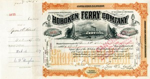 Hoboken Ferry signed by Garret A. Hobart - Stock Certificate