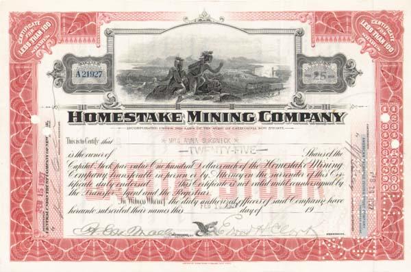 Edward Hardy Clark - Homestake Mining Co - Stock Certificate