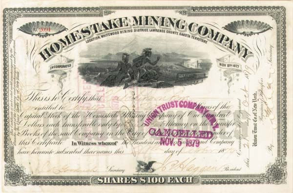 James Ben Ali Haggin - Homestake Mining Co - Stock Certificate