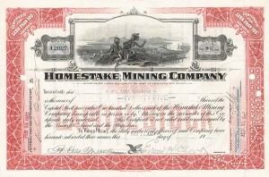 Edward Hardy Clark - Homestake Mining Co - Stock Certificate