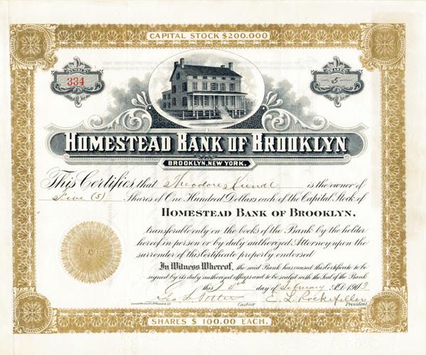 E. L. Rockefeller - Homestead Bank of Brooklyn - Stock Certificate