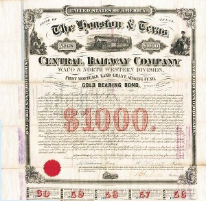 Houston and Texas Central Railway Company $1,000 Uncanceled Gold Bond signed by William Earle Dodge, Sr. as president, Founder of Y.M.C.A.