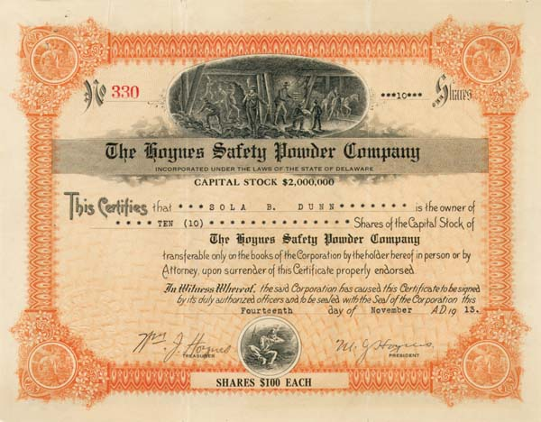 Hoynes Safety Powder Company - Stock Certificate