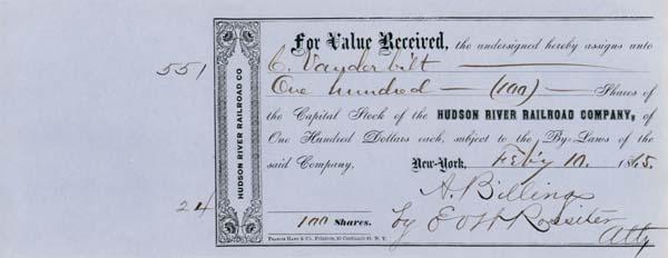 Issued to Commodore Cornelius Vanderbilt - Hudson River Railroad - Stock Certificate