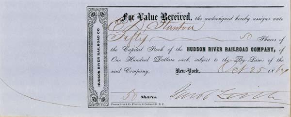 Jacob Little - Hudson River Railroad - Stock Certificate