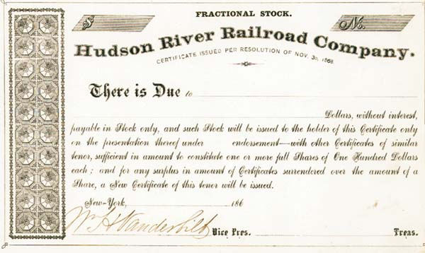William H. Vanderbilt - Hudson River Railroad - SOLD