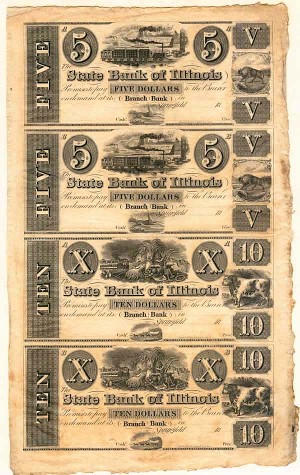 State Bank of Illinois Uncut Obsolete Sheet - Broken Bank Notes