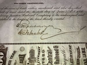 New Jersey Junction Railroad Co. Uncanceled Bond signed by J. Pierpont Morgan and Harris Charles Fahnestock - 100 Year Railroad Bond!