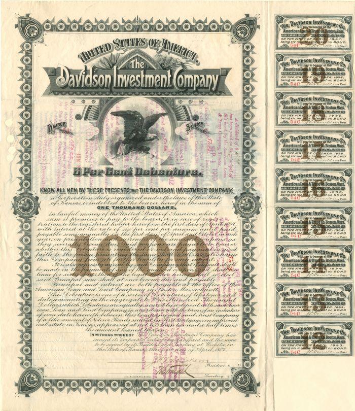 Davidson Investment Company - $1,000 Bond