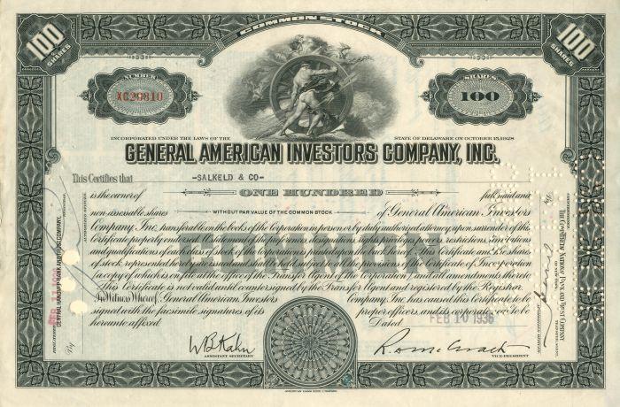 General American Investors Company, Inc. - Stock Certificate