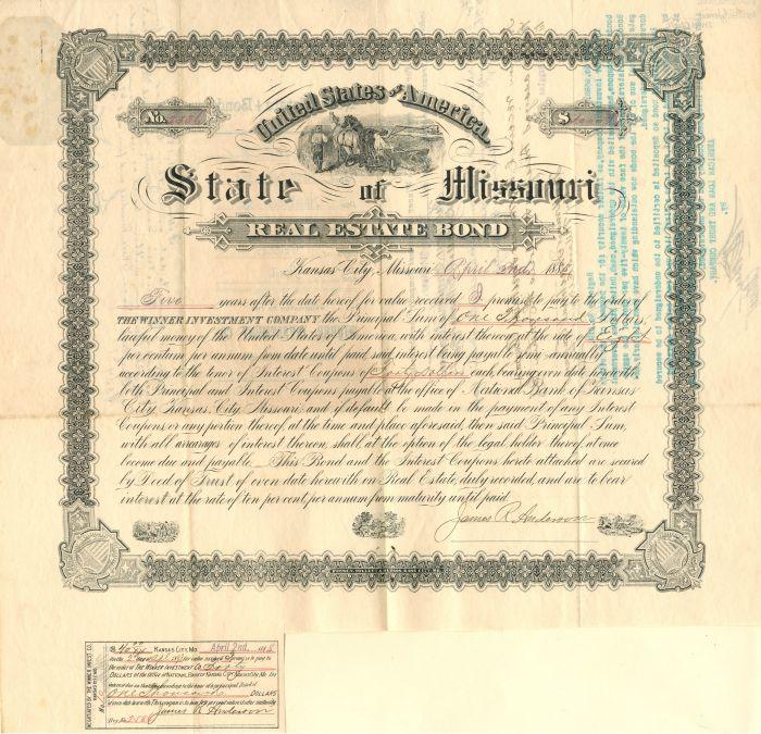 State of Missouri Real Estate Bond - $1,000 Bond - SOLD