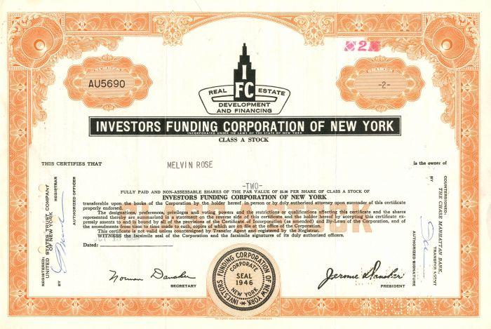 Investors Funding Corporation of New York - Stock Certificate