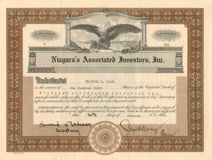 Niagara's Associated Investors, Inc. - Stock Certificate
