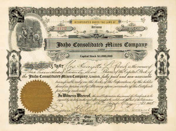 Idaho Consolidated Mines Company - Stock Certificate