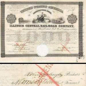 Illinois Central Bond signed by Robert Schuyler