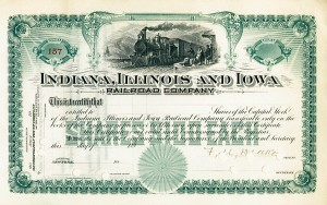 Indiana, Illinois & Iowa Railroad Unissued & signed by Francis M. Drake - Stock Certificate