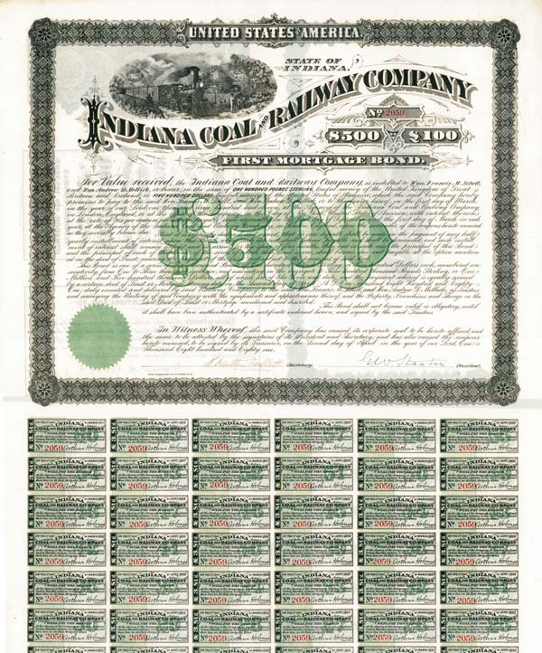 Indiana Coal & Railway Company - Bond