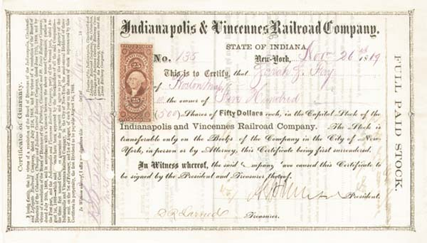 General Ambrose E. Burnside - Indianapolis & Vincennes Railroad - Stock Certificate