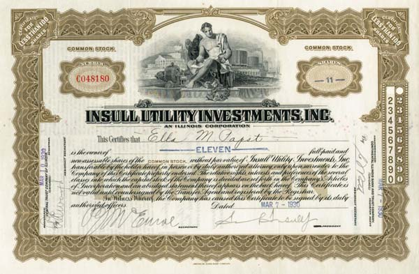 Samuel Insull, Jr. - Insull Utility Investments Inc.
