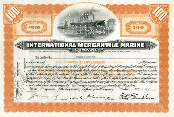 Kermit Roosevelt issued to and signed International Mercantile Marine - Company that Made the Titanic - Stock Certificate